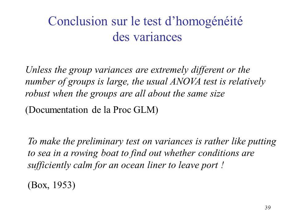 Conclusion sur le test d'homogénéité des variances