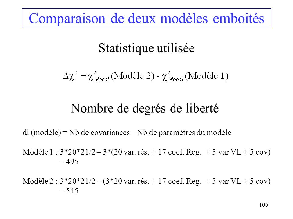 Comparaison de deux modèles emboités