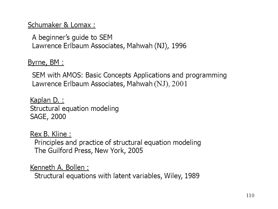 Schumaker & Lomax : A beginner's guide to SEM. Lawrence Erlbaum Associates, Mahwah (NJ), 1996. Byrne, BM :
