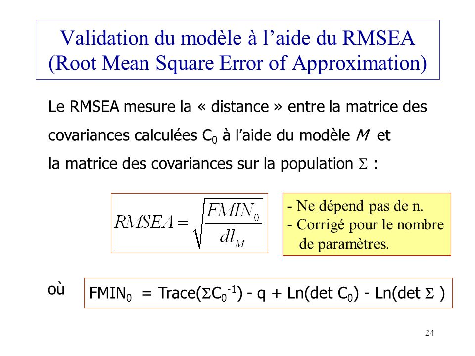 Validation du modèle à l'aide du RMSEA (Root Mean Square Error of Approximation)