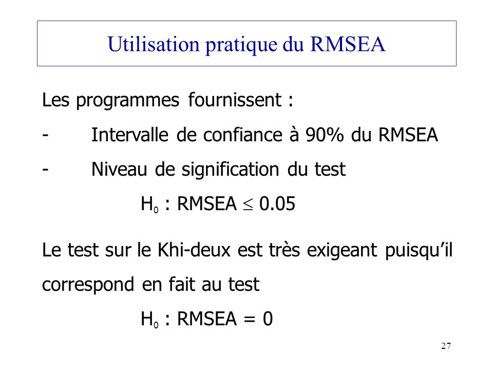 Utilisation pratique du RMSEA