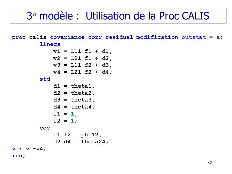 3e modèle : Utilisation de la Proc CALIS