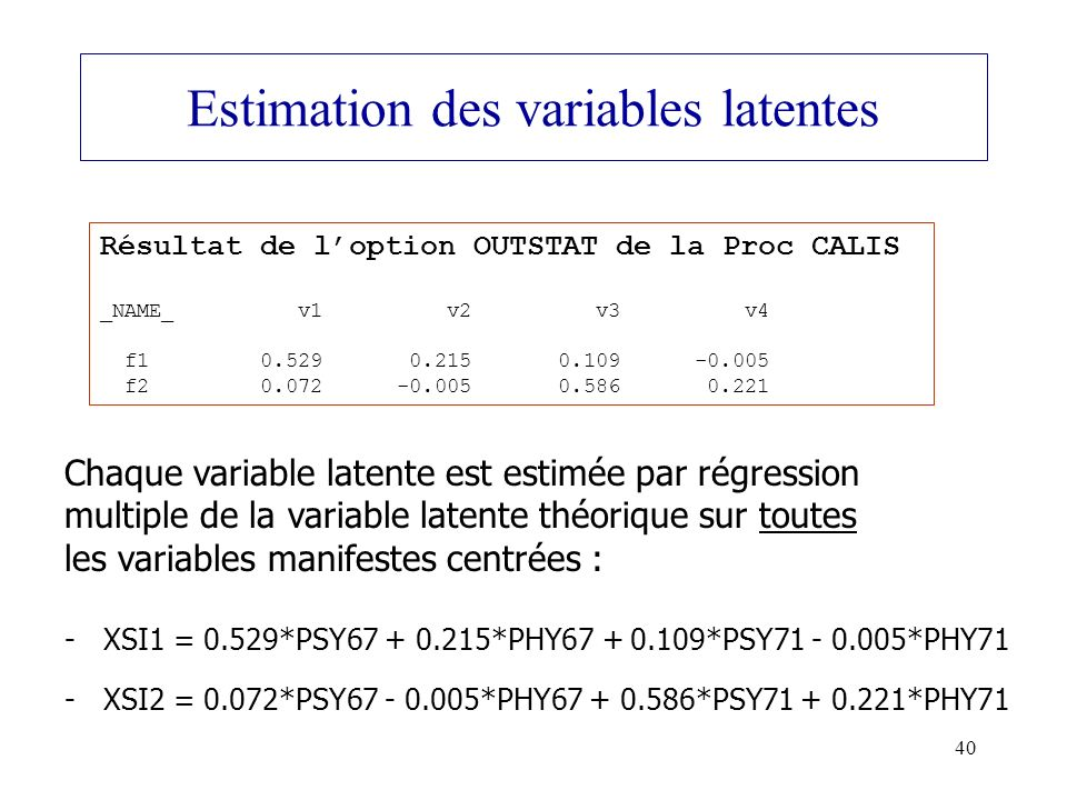Estimation des variables latentes