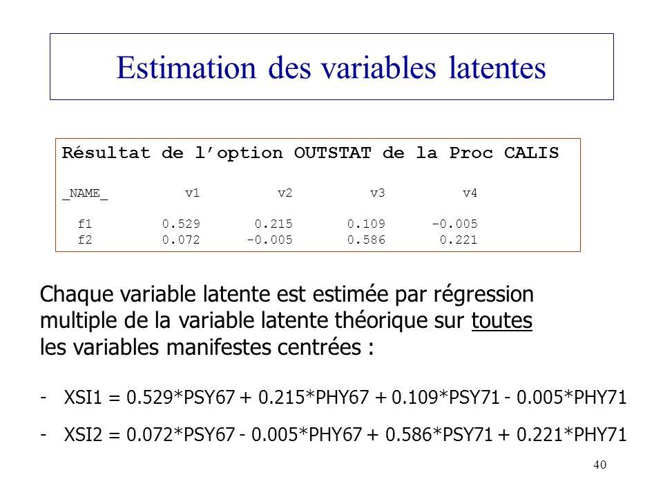 Estimation des variables latentes