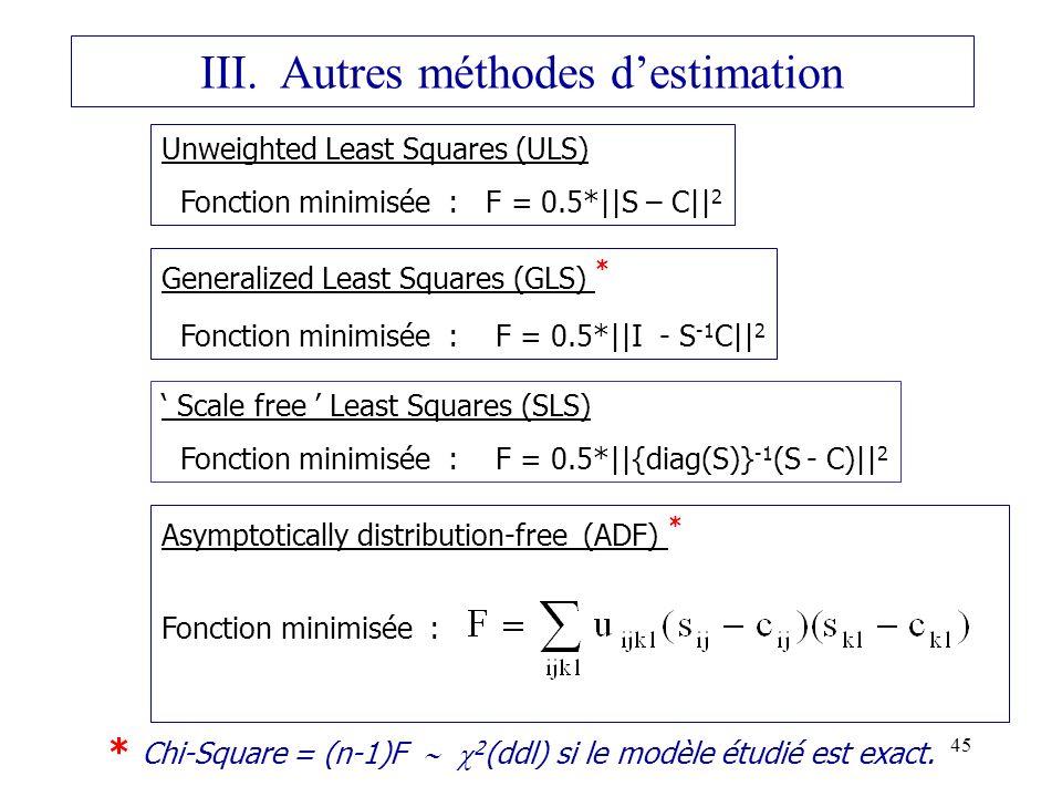 III. Autres méthodes d'estimation