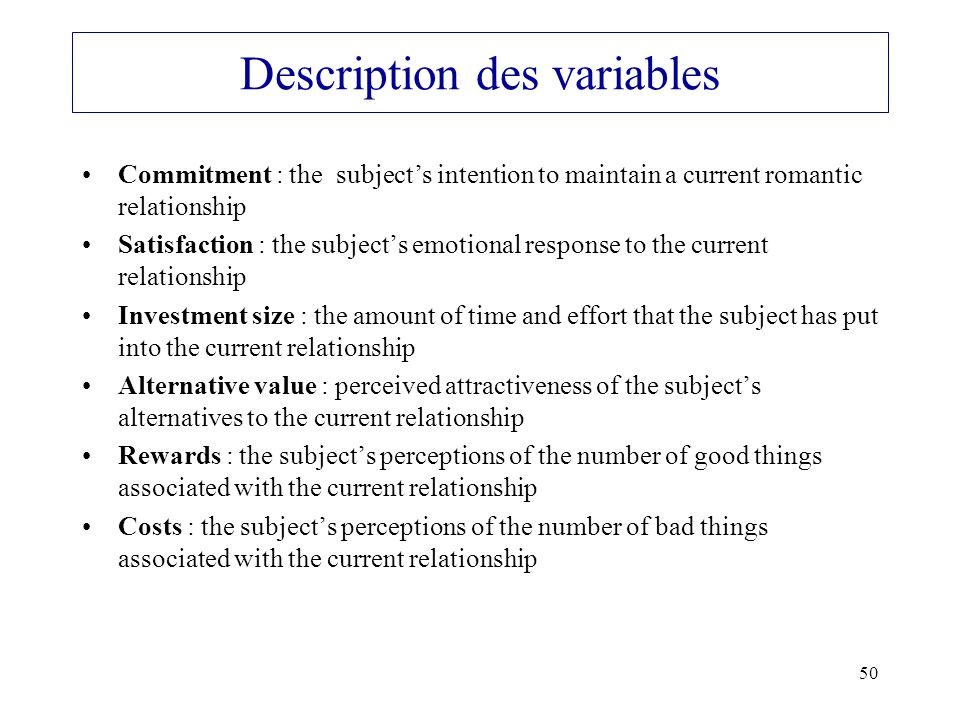 Description des variables