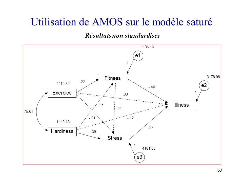 Utilisation de AMOS sur le modèle saturé
