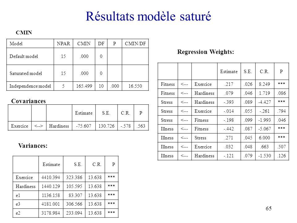 Résultats modèle saturé