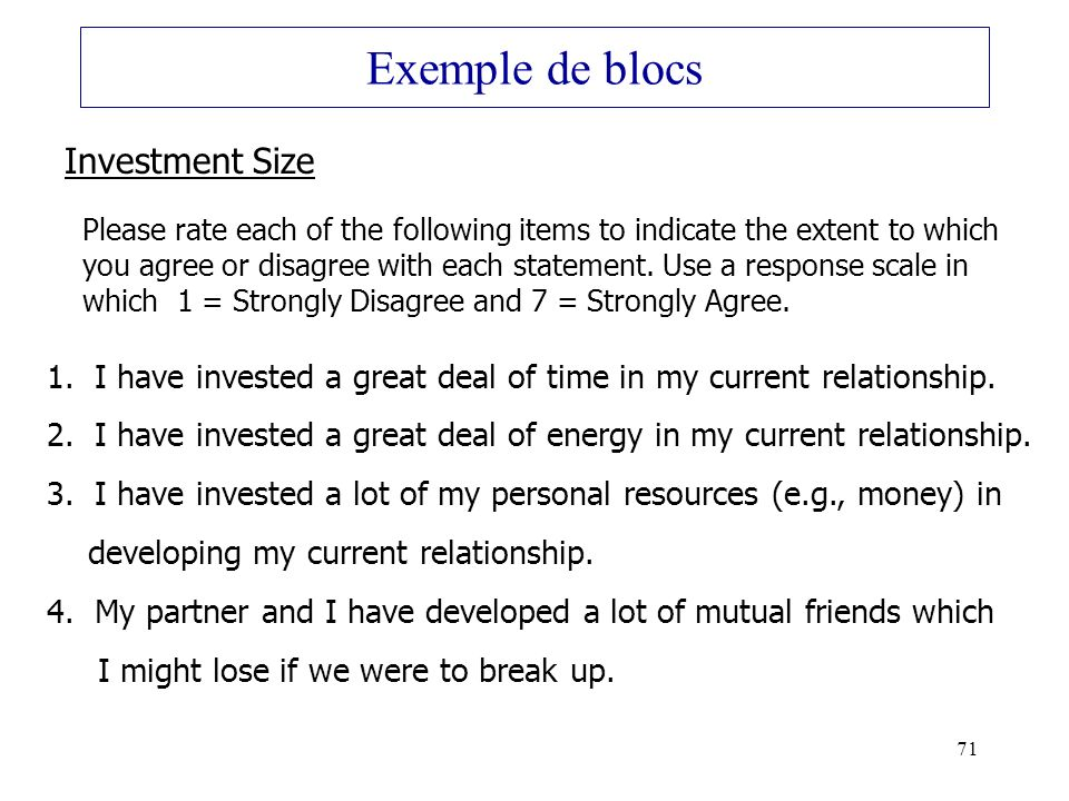 Exemple de blocs Investment Size