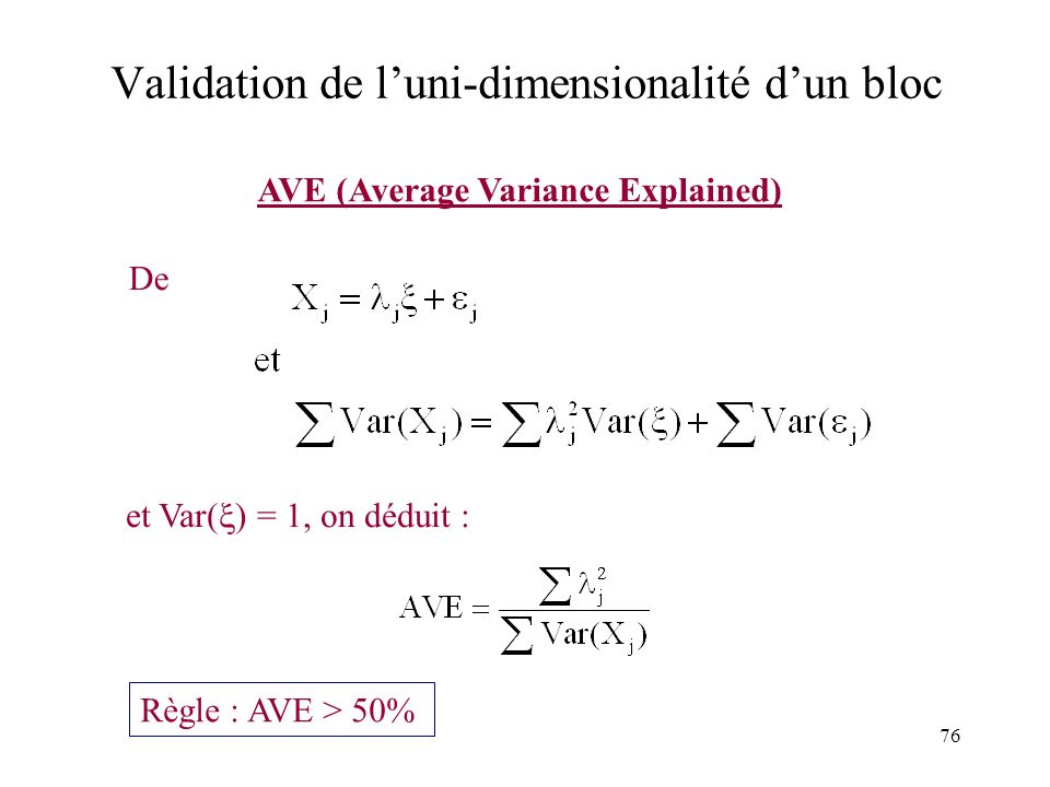 Validation de l'uni-dimensionalité d'un bloc