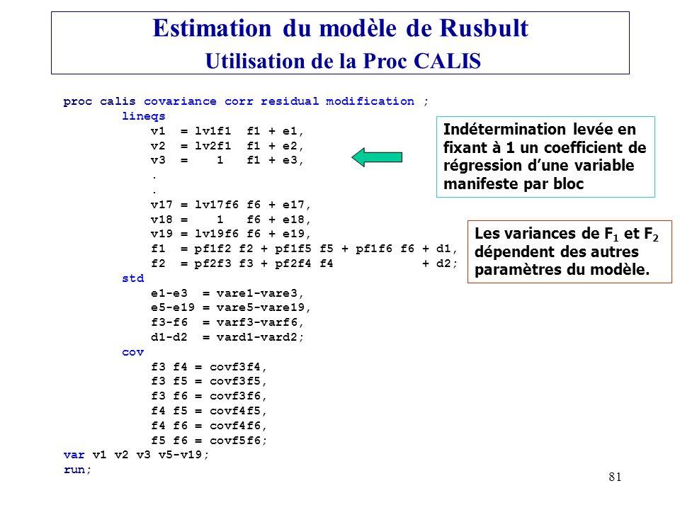 Estimation du modèle de Rusbult Utilisation de la Proc CALIS