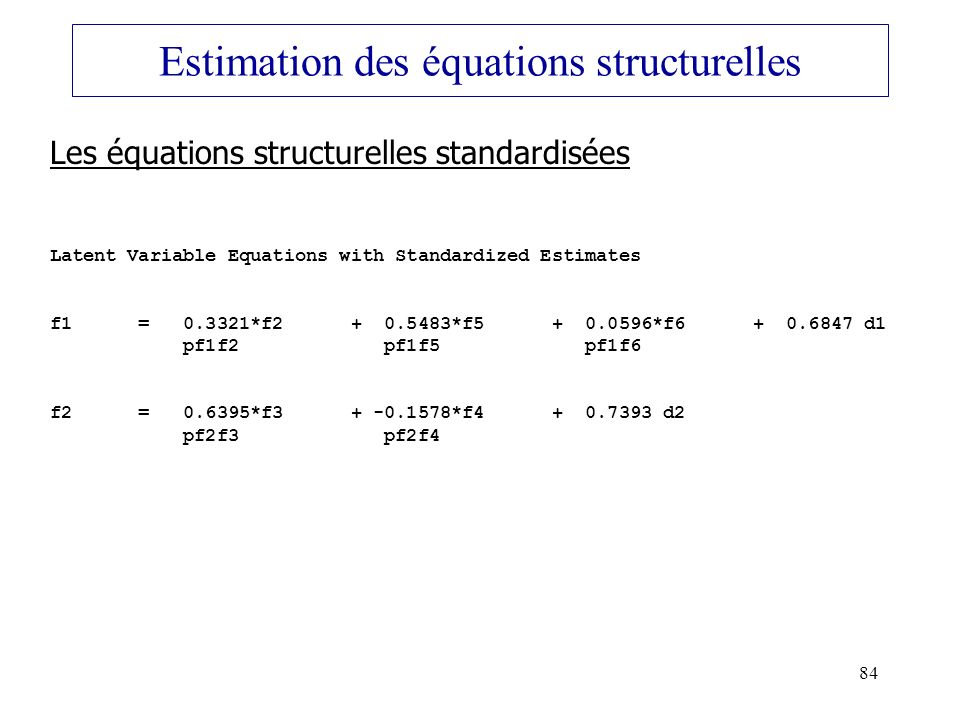 Estimation des équations structurelles