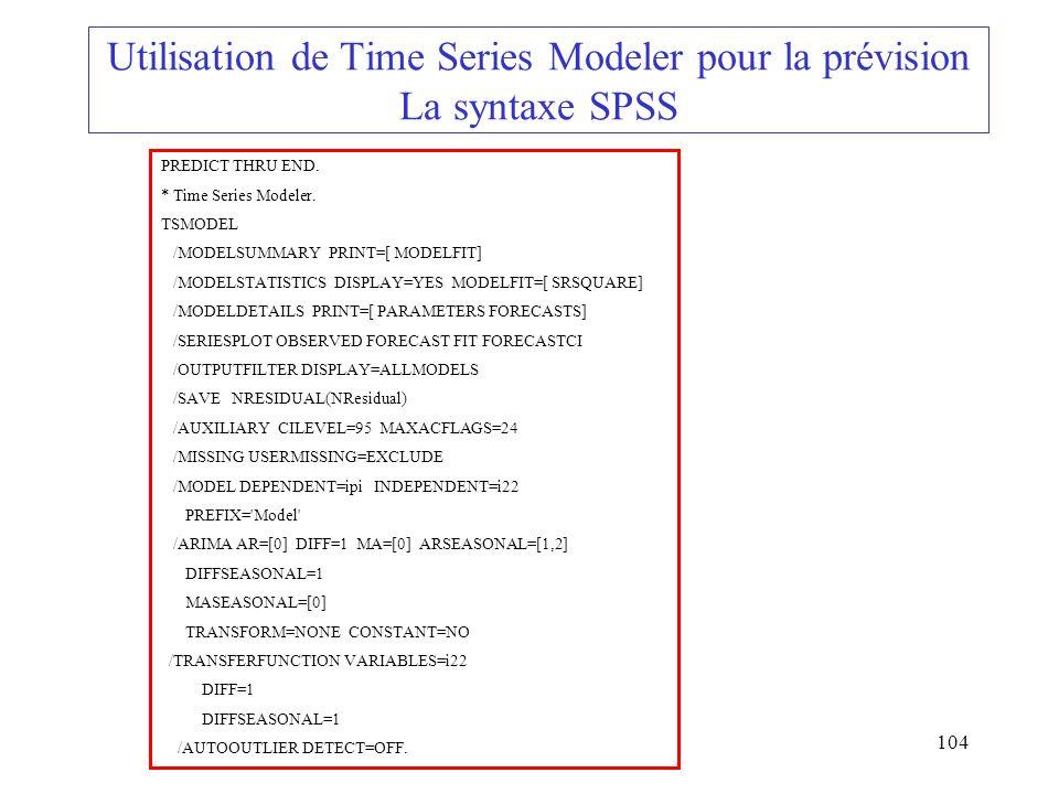 Utilisation de Time Series Modeler pour la prévision La syntaxe SPSS