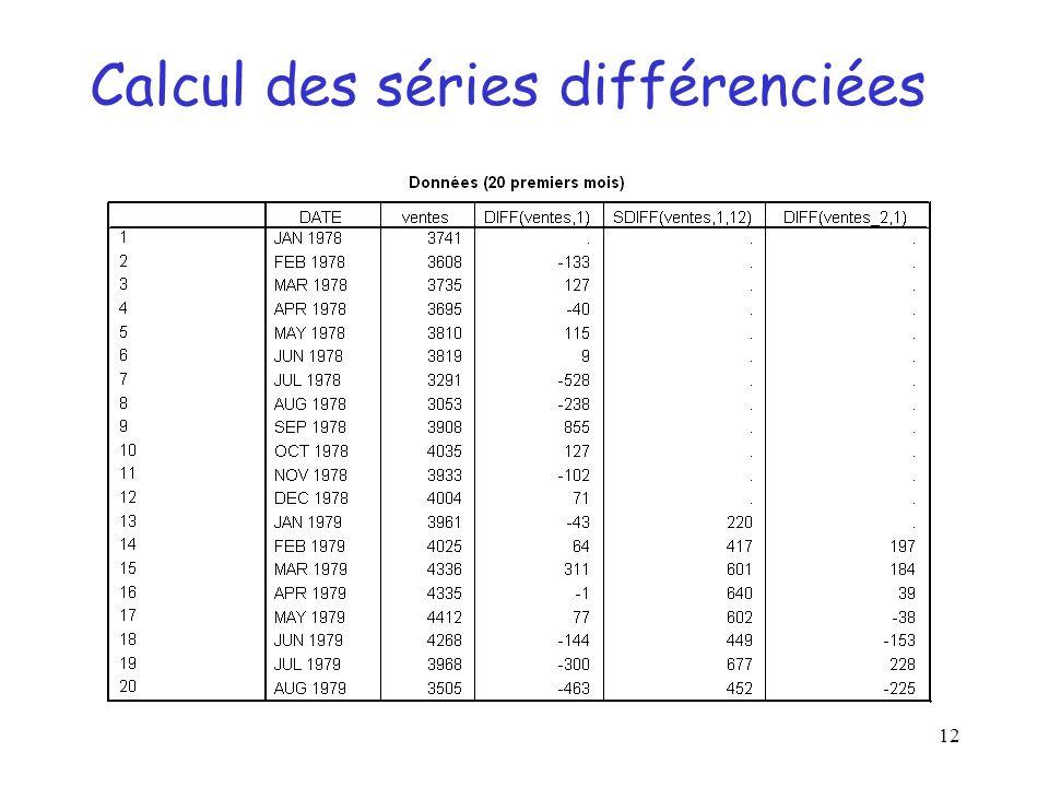Calcul des séries différenciées