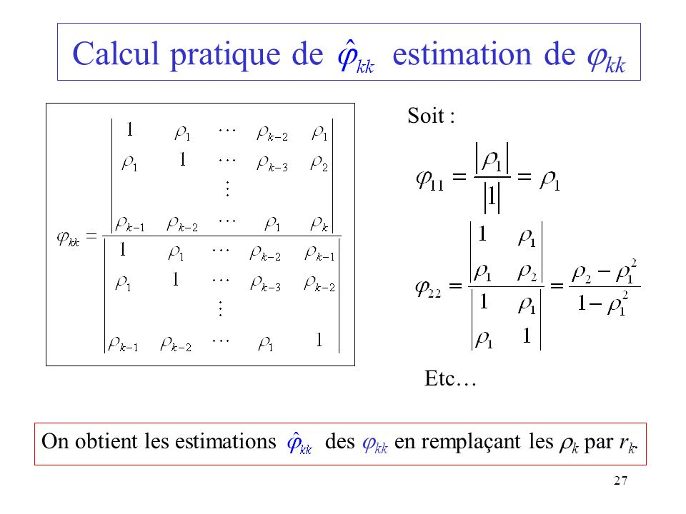 Calcul pratique de estimation de kk