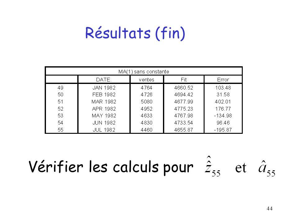 Résultats (fin) Vérifier les calculs pour