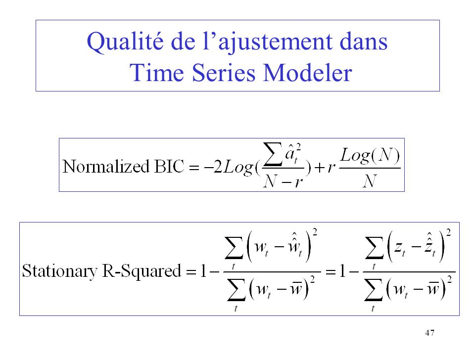 Qualité de l'ajustement dans Time Series Modeler