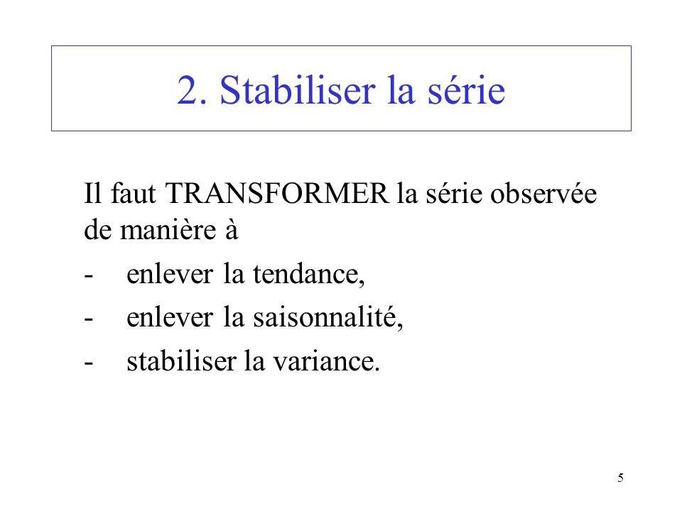 2. Stabiliser la série Il faut TRANSFORMER la série observée de manière à. - enlever la tendance, - enlever la saisonnalité,