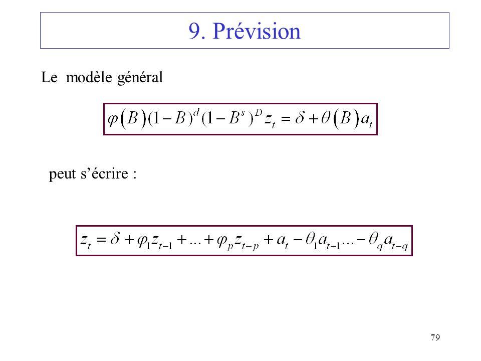 9. Prévision Le modèle général peut s'écrire :