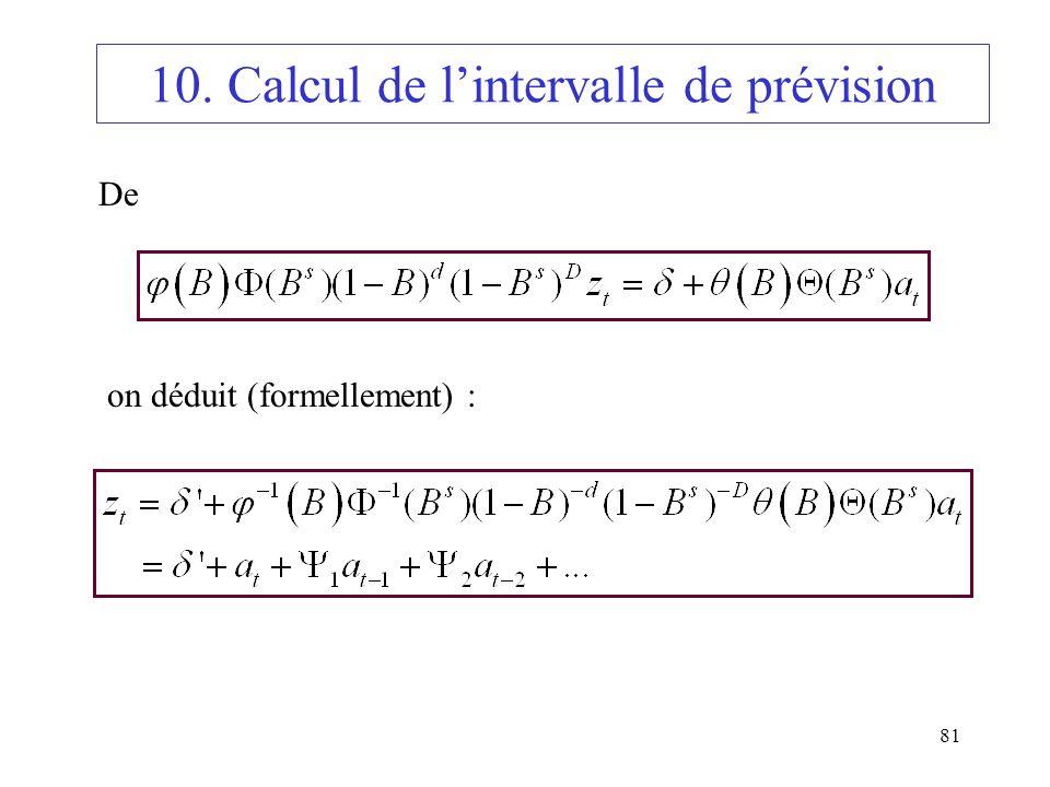 10. Calcul de l'intervalle de prévision