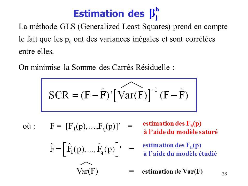 Estimation des La méthode GLS (Generalized Least Squares) prend en compte. le fait que les pij ont des variances inégales et sont corrélées.