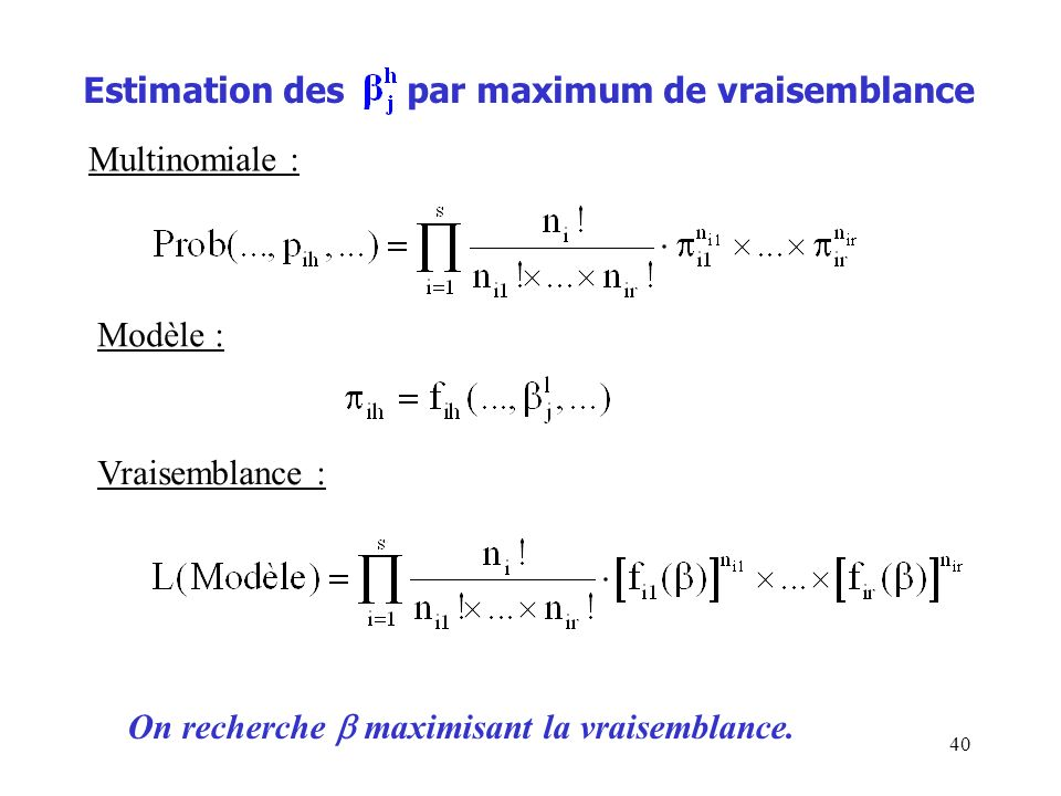 Estimation des par maximum de vraisemblance