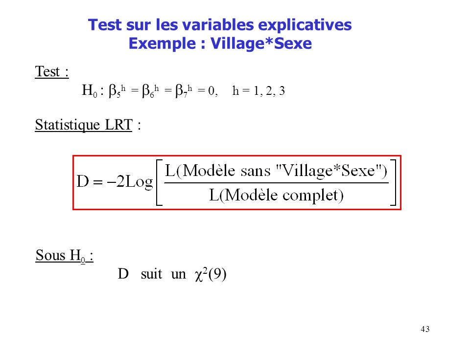 Test sur les variables explicatives Exemple : Village*Sexe