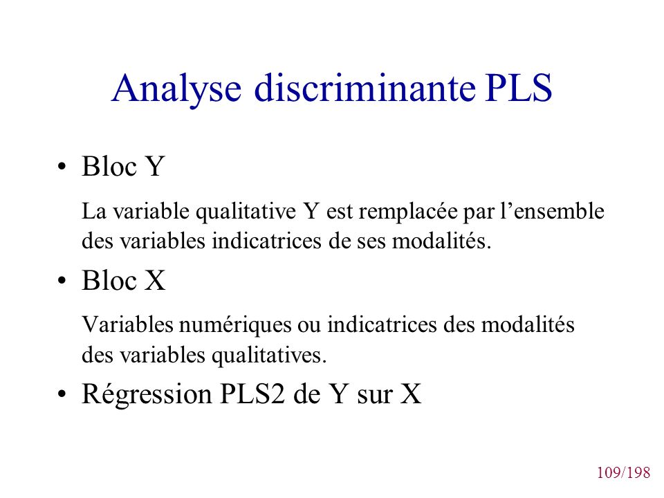 Analyse discriminante PLS