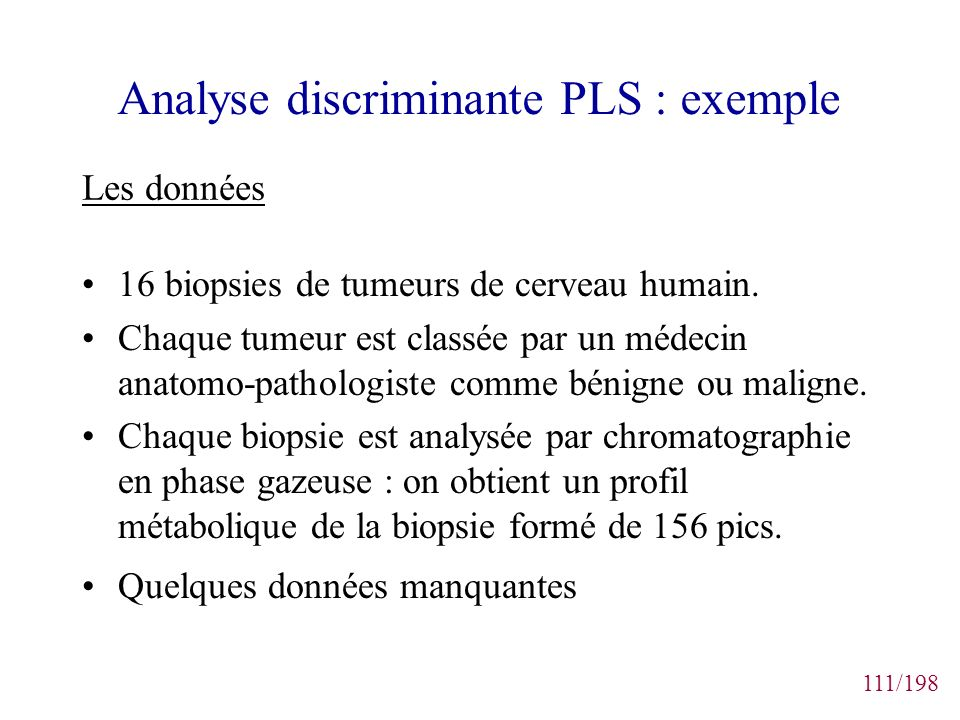 Analyse discriminante PLS : exemple