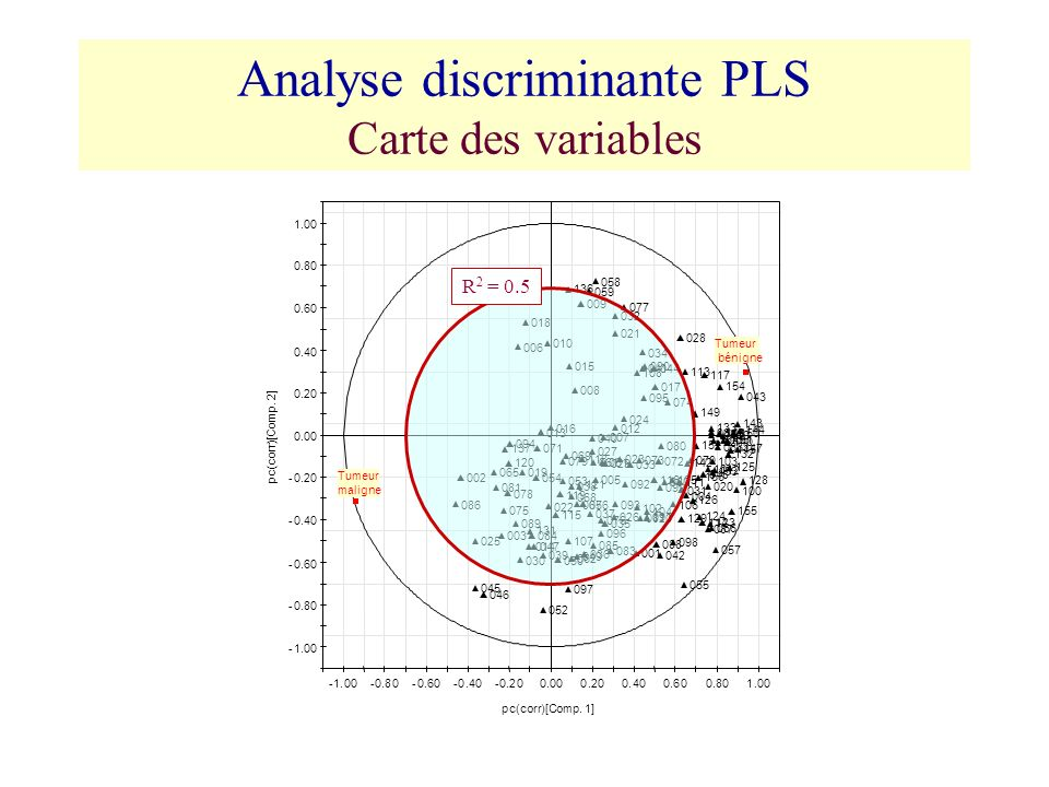 Analyse discriminante PLS Carte des variables