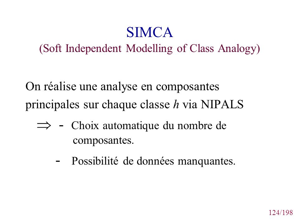 SIMCA (Soft Independent Modelling of Class Analogy)