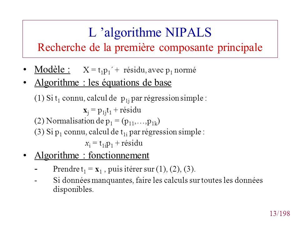 L 'algorithme NIPALS Recherche de la première composante principale