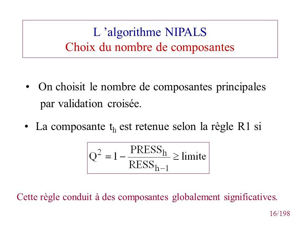 L 'algorithme NIPALS Choix du nombre de composantes