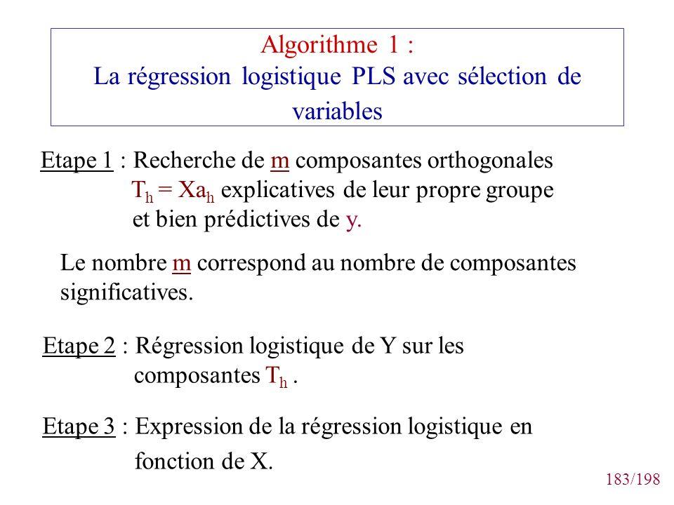 Algorithme 1 : La régression logistique PLS avec sélection de variables