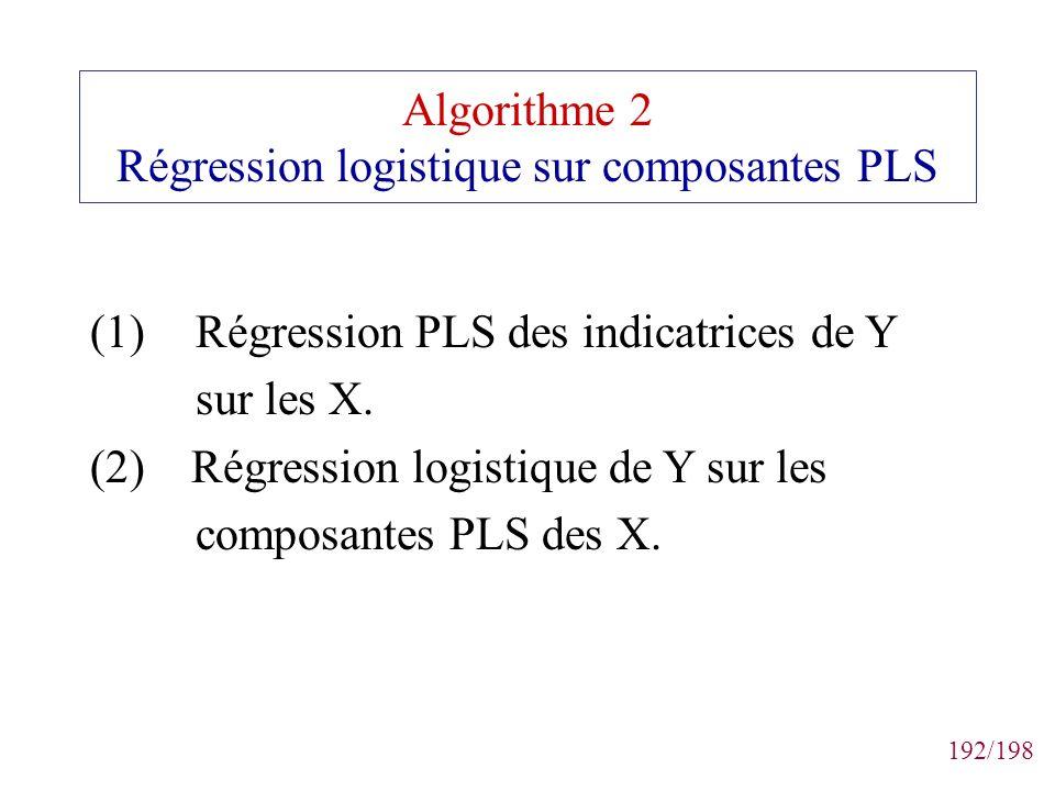 Algorithme 2 Régression logistique sur composantes PLS