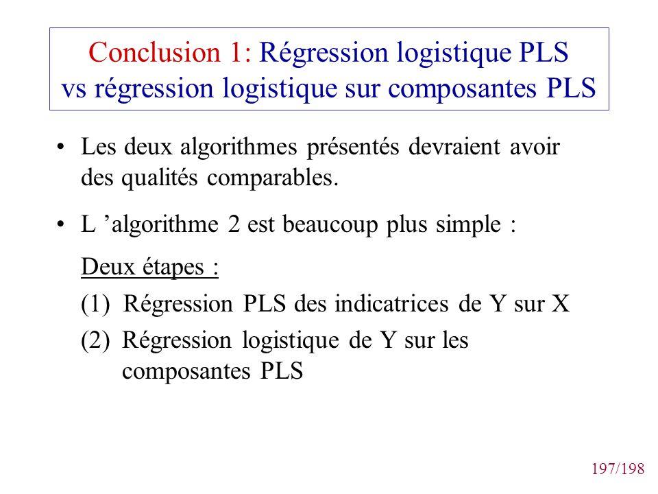 Conclusion 1: Régression logistique PLS vs régression logistique sur composantes PLS