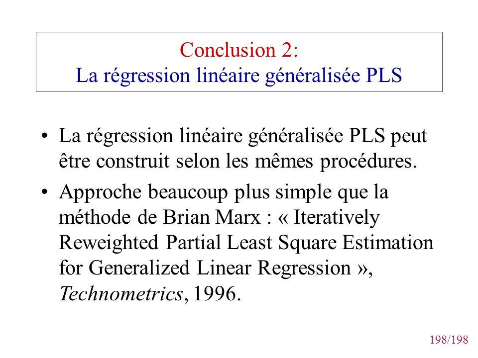 Conclusion 2: La régression linéaire généralisée PLS