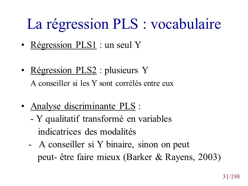 La régression PLS : vocabulaire