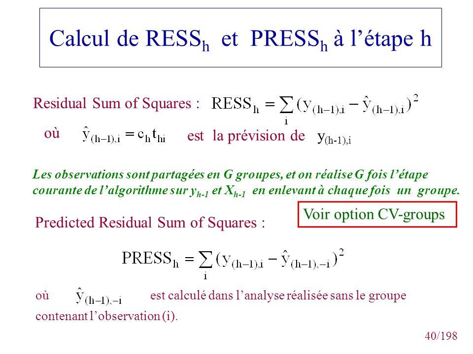 Calcul de RESSh et PRESSh à l'étape h