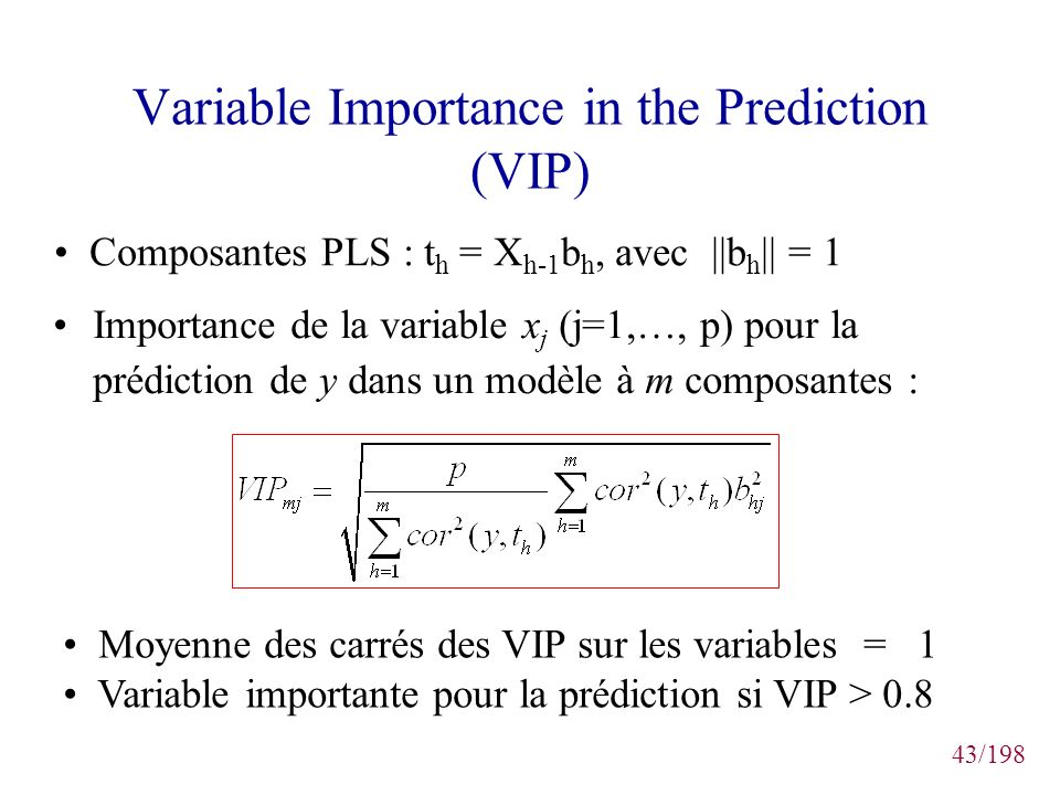 Variable Importance in the Prediction (VIP)