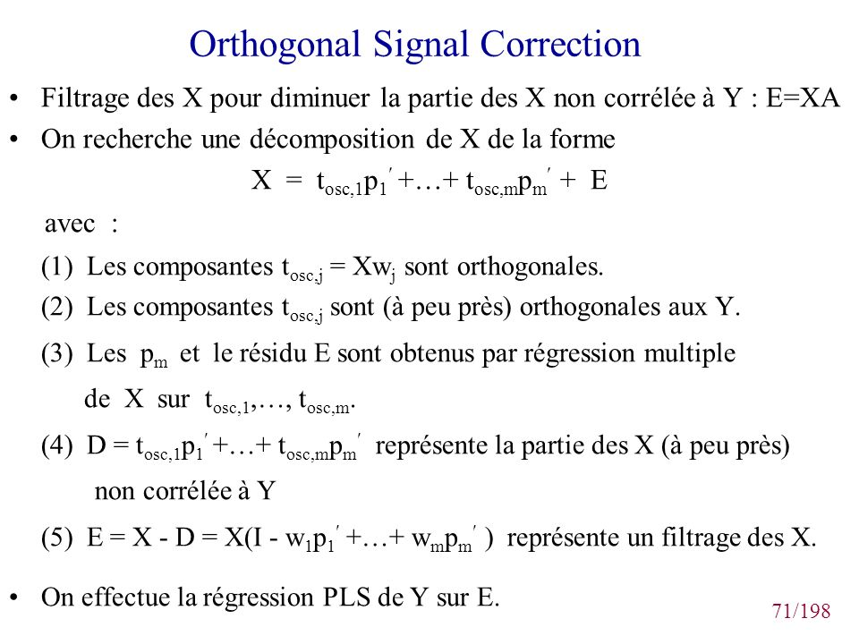 Orthogonal Signal Correction