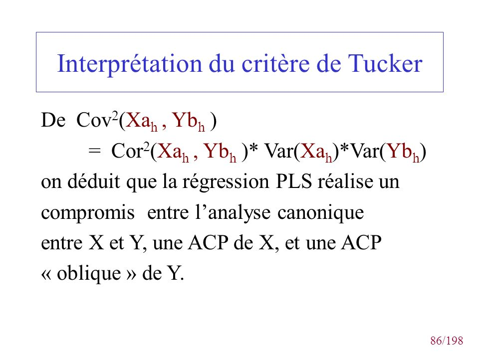 Interprétation du critère de Tucker