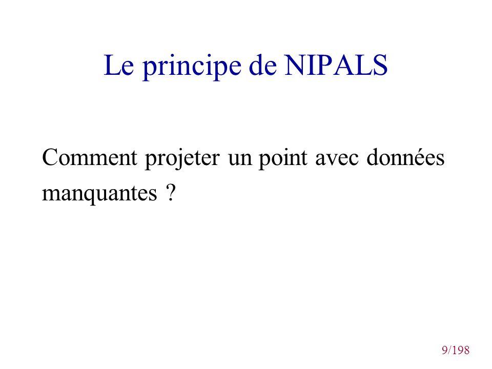 Le principe de NIPALS Comment projeter un point avec données