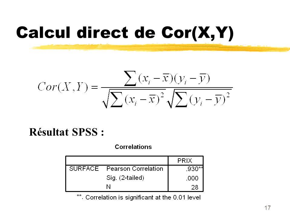 Calcul direct de Cor(X,Y)