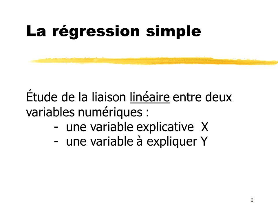 La régression simple Étude de la liaison linéaire entre deux