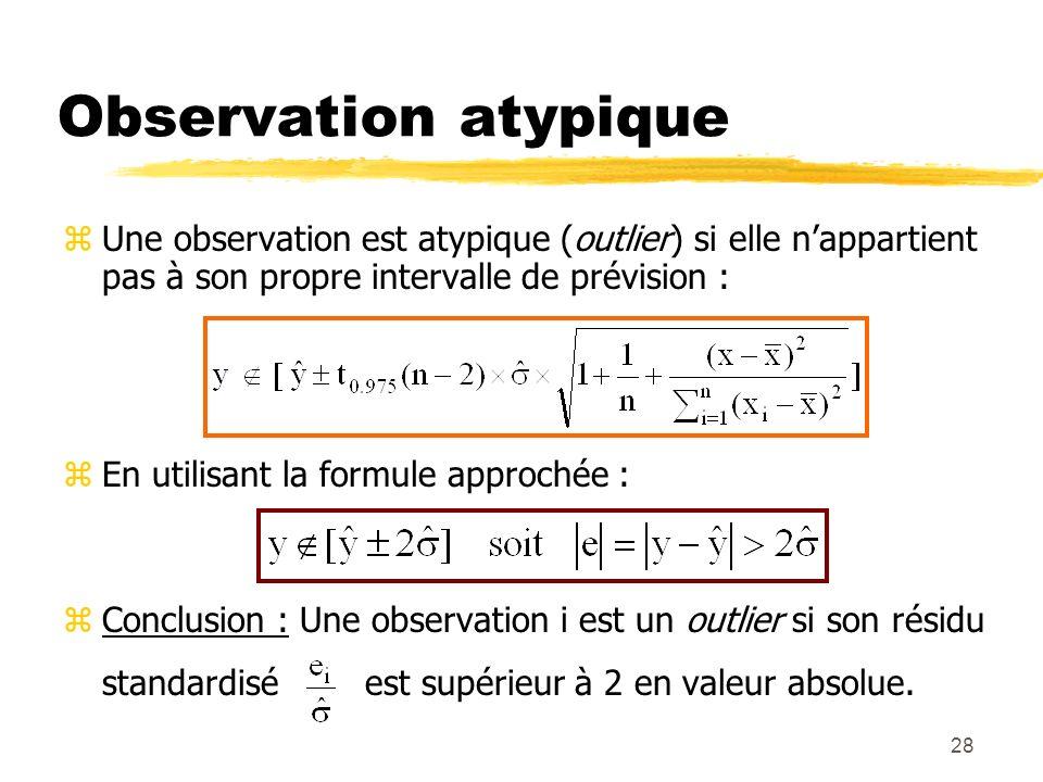 Observation atypique Une observation est atypique (outlier) si elle n'appartient pas à son propre intervalle de prévision :