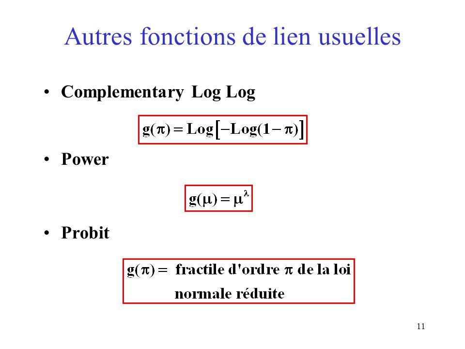 Autres fonctions de lien usuelles