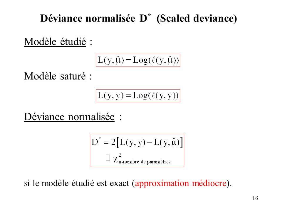 Déviance normalisée D* (Scaled deviance)