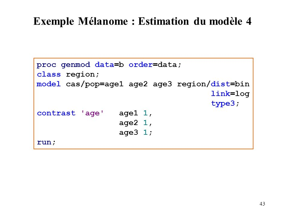 Exemple Mélanome : Estimation du modèle 4