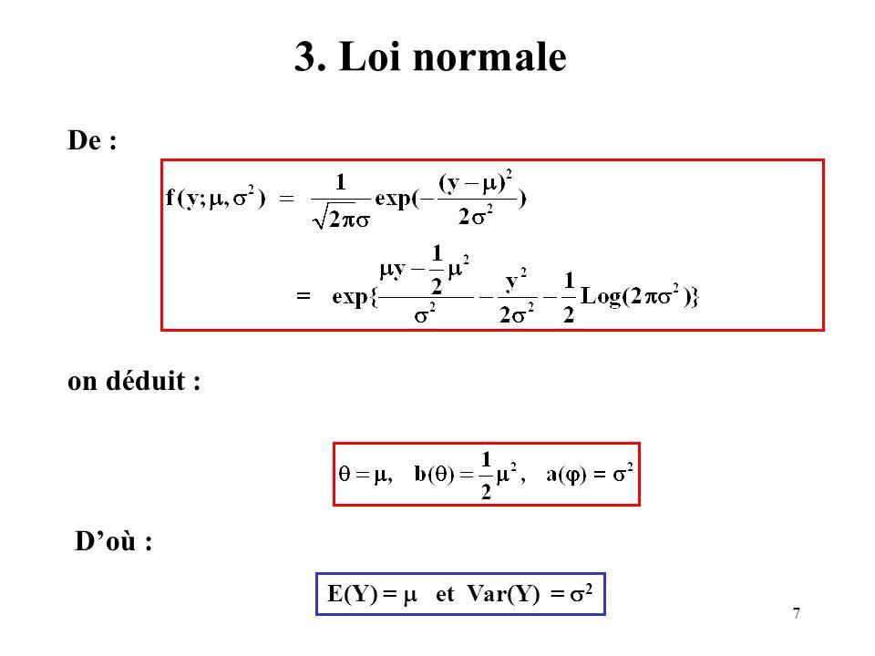 3. Loi normale De : on déduit : D'où : E(Y) =  et Var(Y) = 2